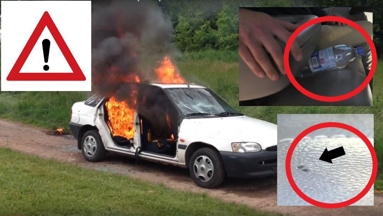 požiar auta môže spôsobiť aj plastová fľaša