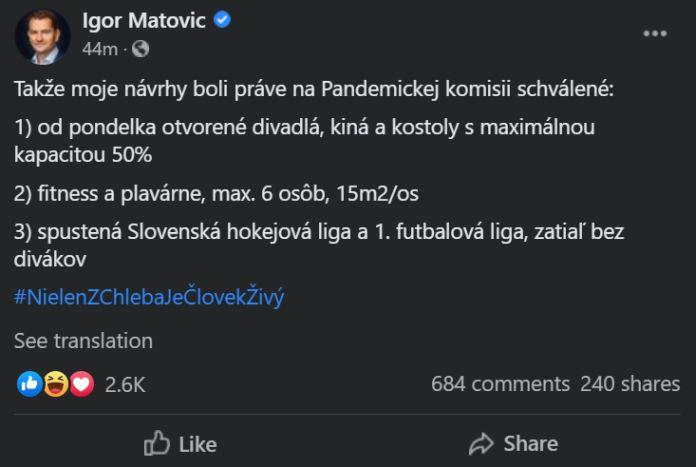 Igor matovič status